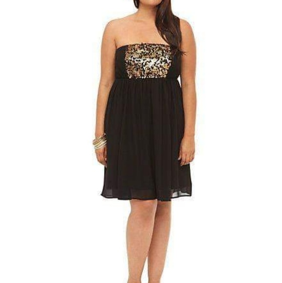Torrid plus size black and gold sequin tube dress